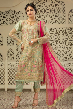Stunning 3 piece net embroidered suit in mint
