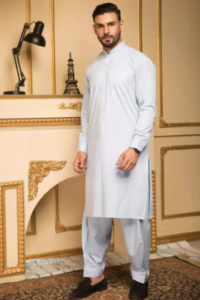 Blue mens plain shalwar kameez