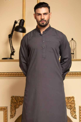 Charcoal mens plain shalwar kameez