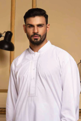 Mens white embroidered shalwar kameez
