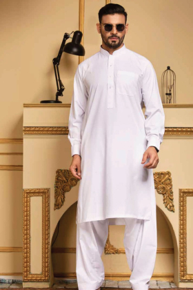 White mens plain shalwar kameez