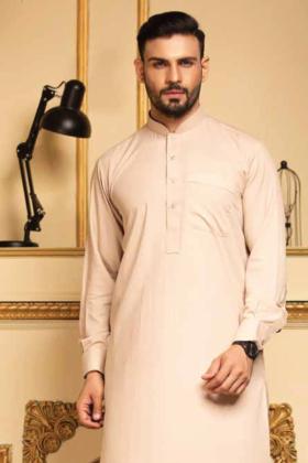 Men's plain shalwar kameez in the colour fawn