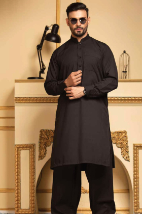 Black mens plain shalwar kameez