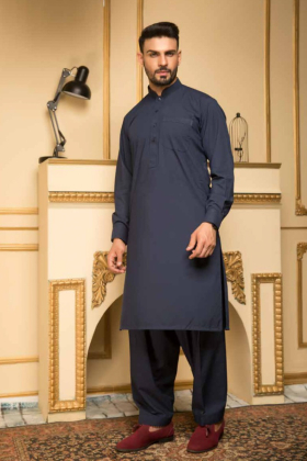Mens plain navy shalwar kameez