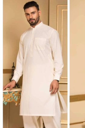 Cream mens plain shalwar kameez