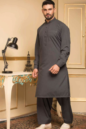 Plain dark grey mens shalwar kameez