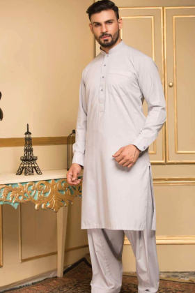 Light grey mens plain shalwar kameez