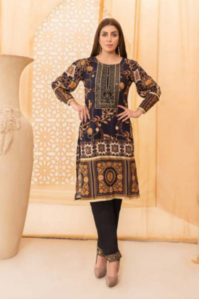 Pattern printed lawn kurta in black