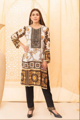Pattern printed lawn kurta in white