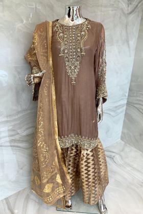 3 Piece luxury embroidered chiffon garara suit in darkgrey
