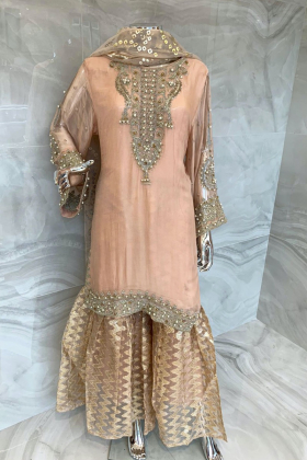 3 Piece luxury embroidered chiffon garara suit in peach