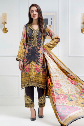 Three piece linen embroidered suit in black