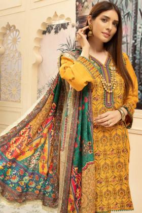 Nisa khaddar three piece thread work suit in mustard