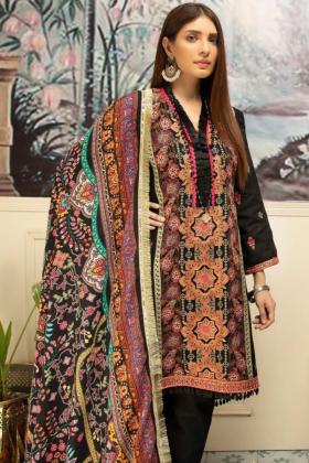 Nisa khaddar three piece thread work suit in black