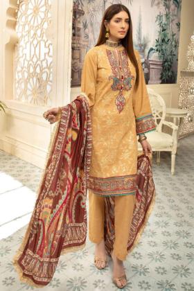 Nisa khaddar three piece thread work suit in beige