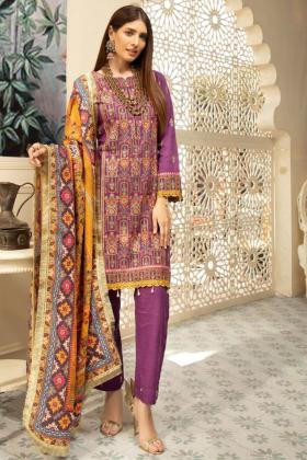Nisa khaddar three piece thread work suit in purple