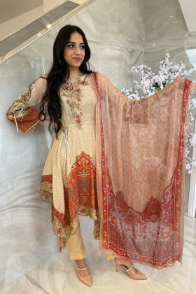 3 Piece luxury embroidered beige lawn peplum style suit