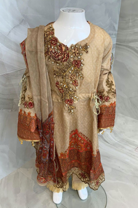Kids 3 piece luxury embroidered lawn suit in beige
