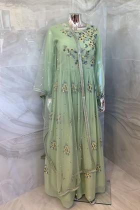 Beautiful luxury chiffon floral embroidered long dress