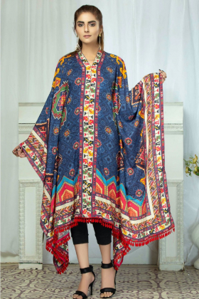 Printed linen kaftan in navy
