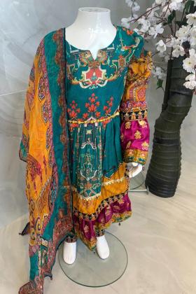 Fanaah peplum kids 3 piece luxury arabic lawn printed suit in green
