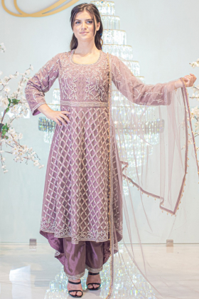 Long tail 3 piece dusty pink frock style suit