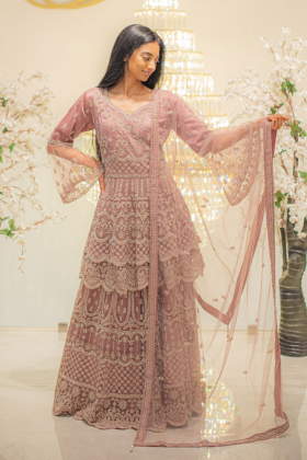 3 Piece dusty pink net embroidered lengha suit