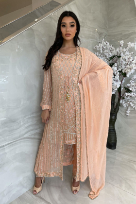 3 Piece chiffon luxury embroidered jacket style peach suit
