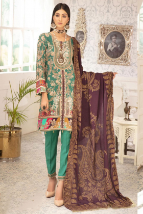 Rozana 3 piece green luxury linen suit