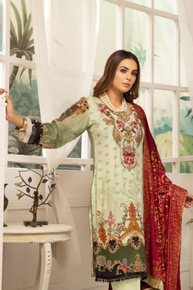 Rozana 3 piece luxury mint linen suit