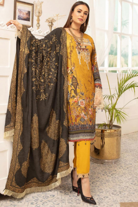 Rozana 3 piece mustard luxury linen suit