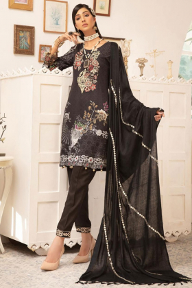 Rozana 3 piece luxury linen black suit