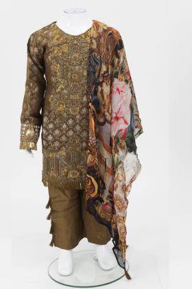 Brown 3 piece girls suit by muskari