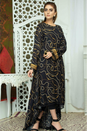 Linen printed long back tail dress in black