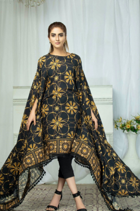 Linen printed kaftan in black