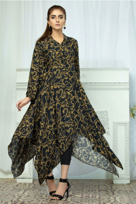 Printed linen a-line kurta in black