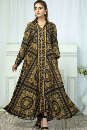 Printed linen long kurta in black