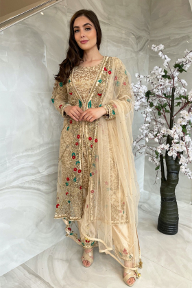 3 Piece luxury embroidered jacket style suit in gold
