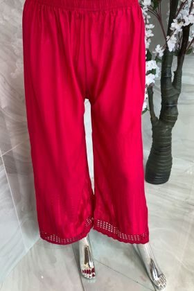 Light weight plain trousers in dark pink