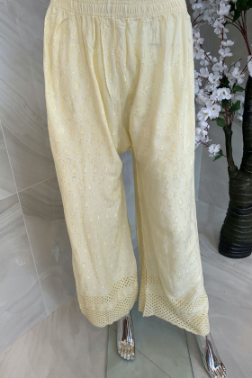Light weight thread-work embroidered lawn trousers in cream