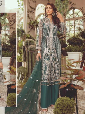 Three piece luxury embroidered suit in dark green