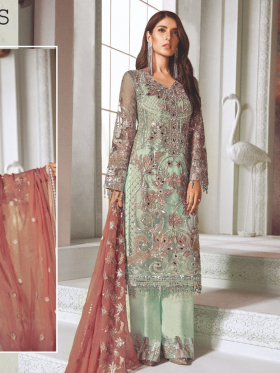Three piece luxury embroidered suit in light green