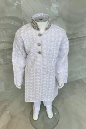 Kids boys 2 piece chicken suit with a silver embroidered collar