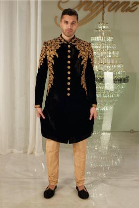 Men's velvet luxury embroidered sherwani in black
