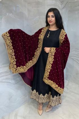 Luxury embroidered velvet shawl in maroon