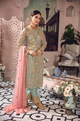 Mint 3 piece suit with pink pearls and gold threadwork