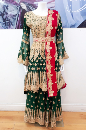 Green luxury embroidered mehndi style heavy outfit