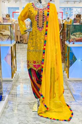 Yellow 3 piece embroidered patiyala mehndi suit