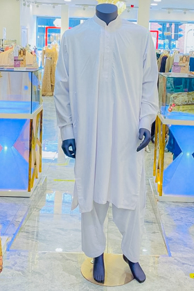 White embroidered mens white shalwar kameez