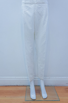 Cream lightweight straight lawn trousers